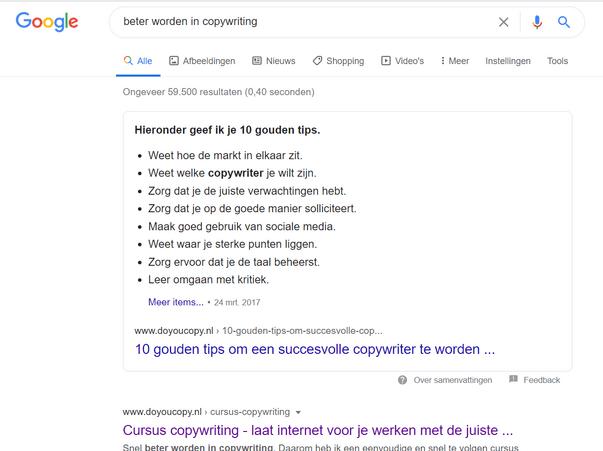 beter worden in copywriting -zoekresultaten Google