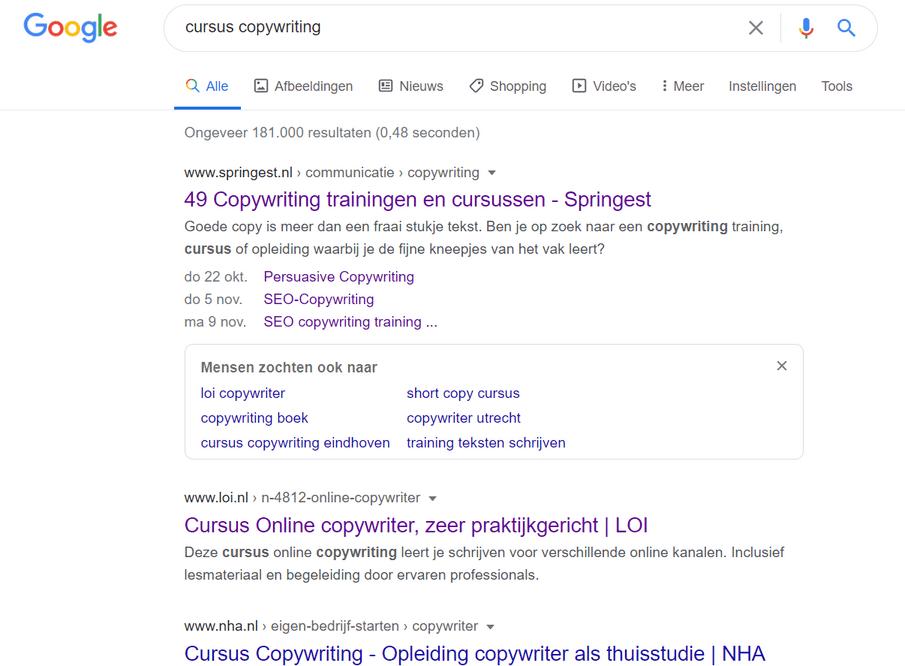cursus copywriting Google