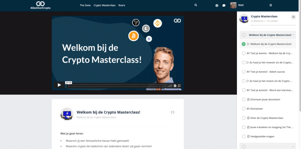 Inloggen Crypto Masterclass